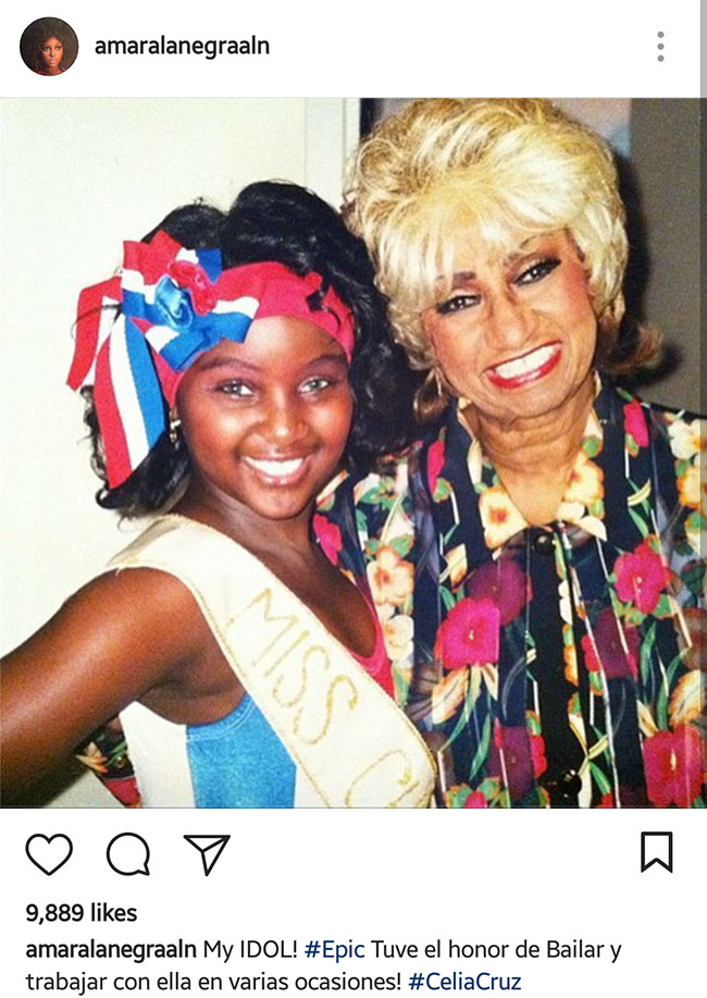 Amara La Negra instagram post with Celia Cruz as a young girl